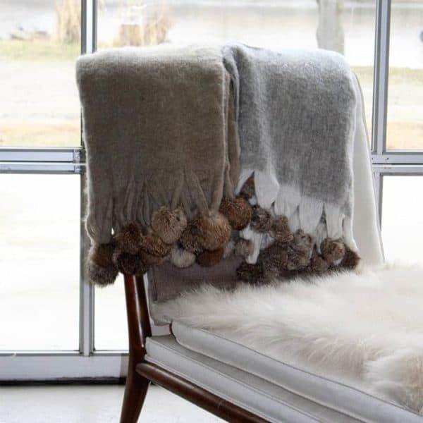 Mohair Pom Pom Blanket 2 - Interiology Design Co.