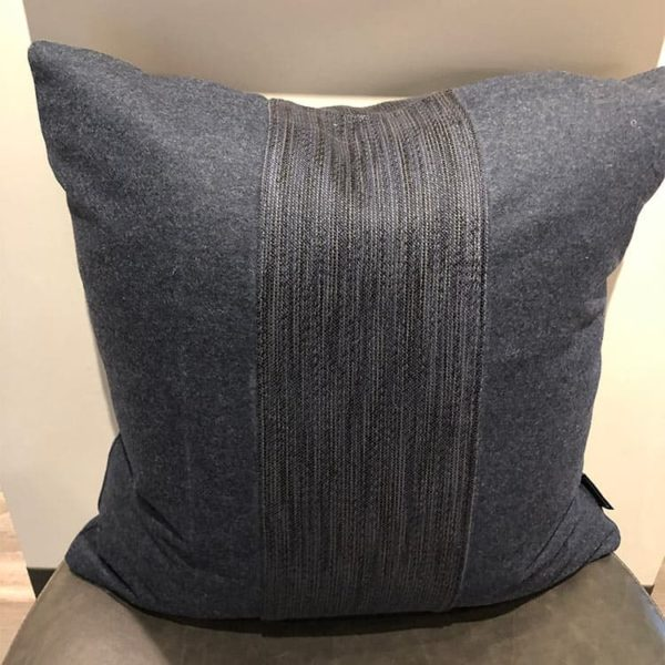 Navy Wool Pillow 1 - Interiology Design Co.