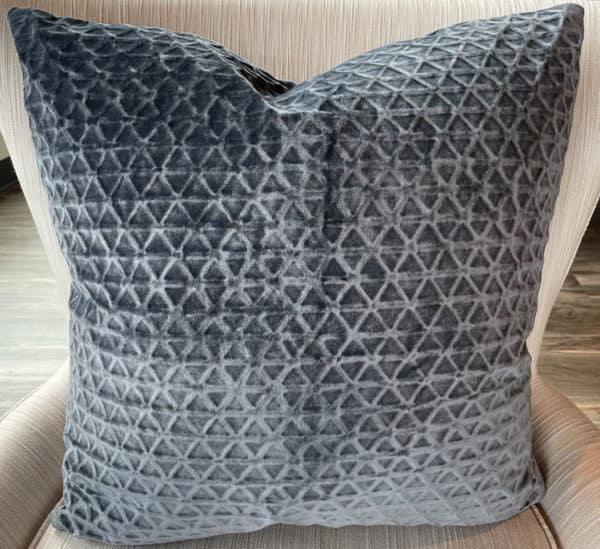 Square Blue Velvet Pillow 1 - Interiology Design Co.